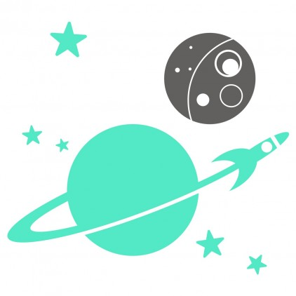planets rocket monkey outer space kids wall decals