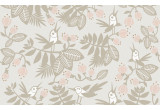 pink gray flowers birds kids wallpaper for baby girl's room, nursery