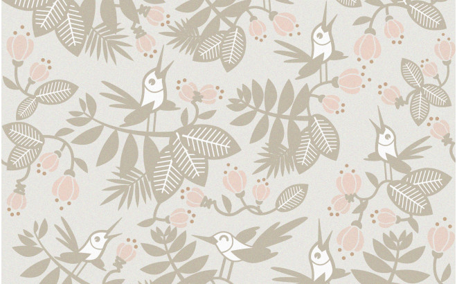 papel pintado infantil pájaros flores gris rosa para habitación infantil, cuarto bebé niña
