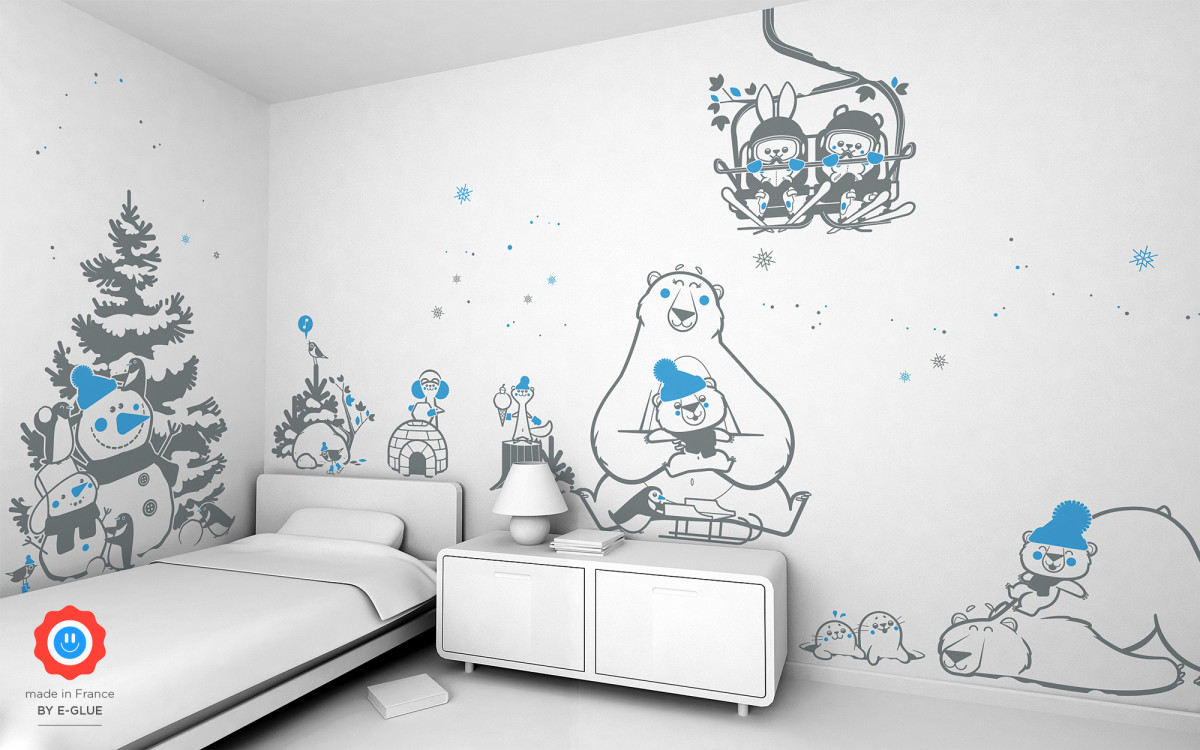 mom polar bear wall decals