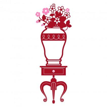 stickers enfant fille chambre princesse vase fleurs