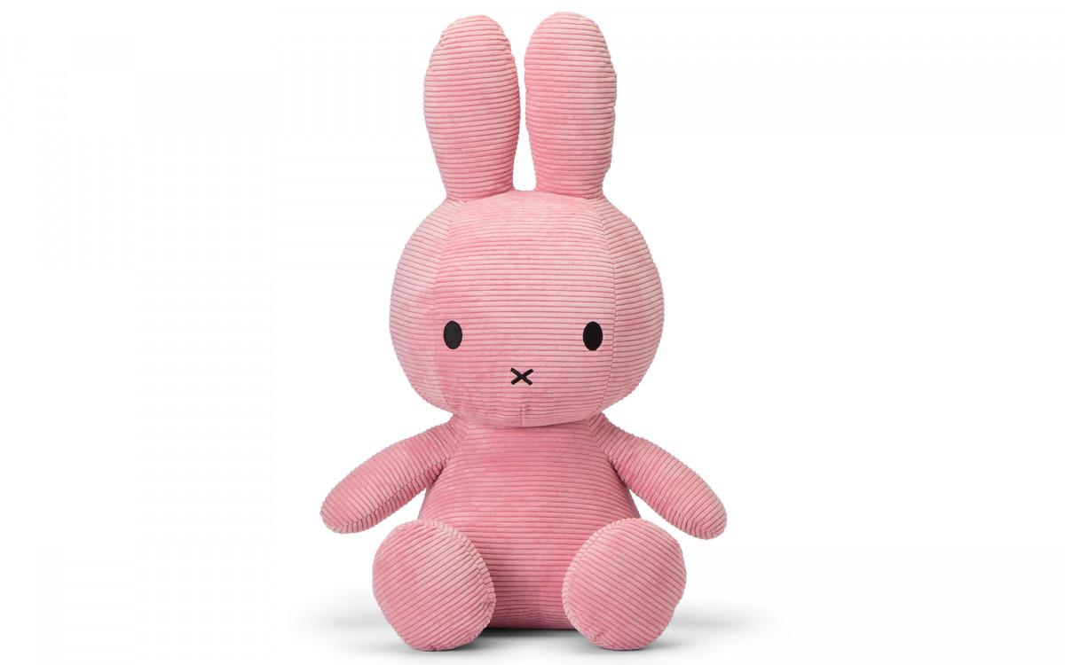 lapin Miffy velours côtelé rose 24 cm