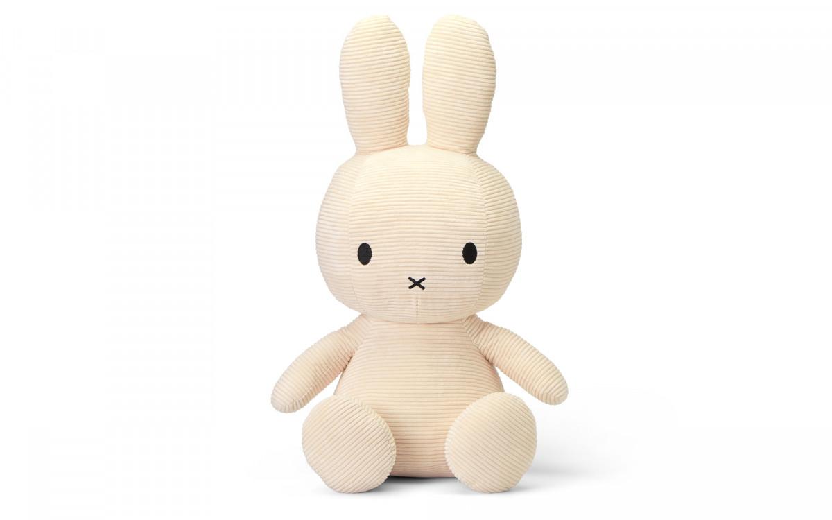 lapin Miffy velours côtelé blanc 24 cm