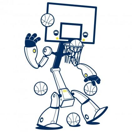 stickers enfant garçon sport robot basketteur