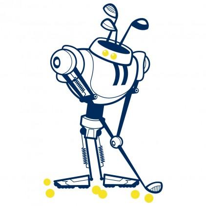 golfer sport robot kids wall decals for boy room