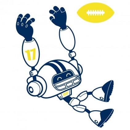 US footballer 1 sport robot kids wall decals for boy room