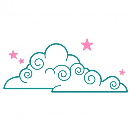 cloud and stars fairy world kids wall decals