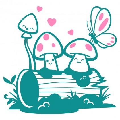 mushrooms fairy world kids wall decals