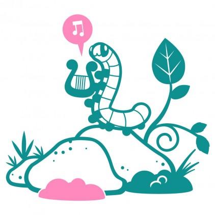 stickers enfant monde féérique chenille musicienne