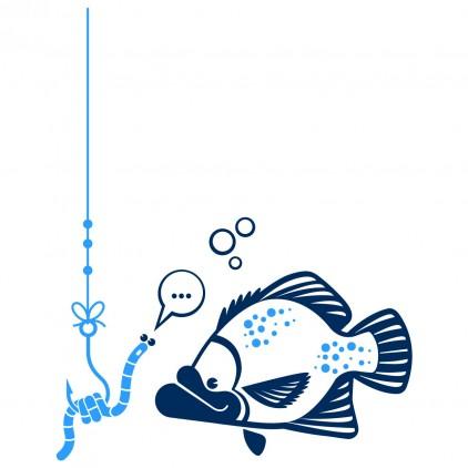 stickers enfant fonds marins poisson mérou et ver