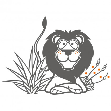 stickers enfant savane lion, chambre safari