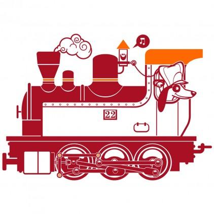 steam engine train station kids wall decals