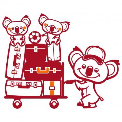 stickers enfant gare train famille koala