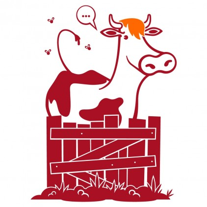 stickers enfant gare train vache