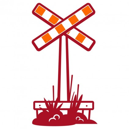 crossing sign train station kids wall decals