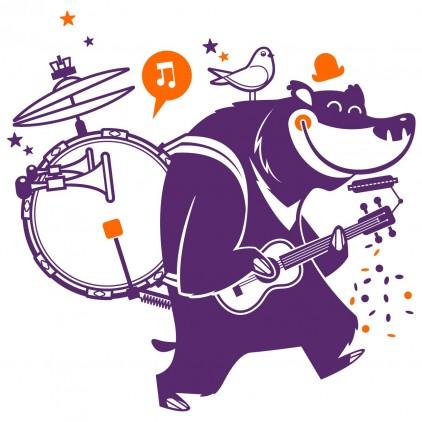 vinilos infantiles animales de circo oso orquesta