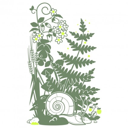 snail fern nature garden insects kids wall decals