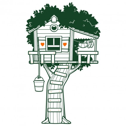 tree hut nature country animals kids wall decals