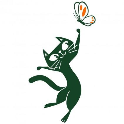 stickers enfant nature animaux campagne chat papillon