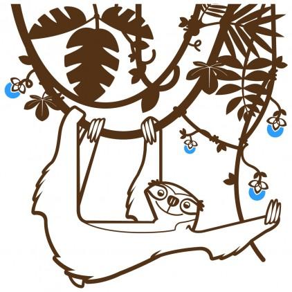 stickers enfant jungle forêt tropicale paresseux