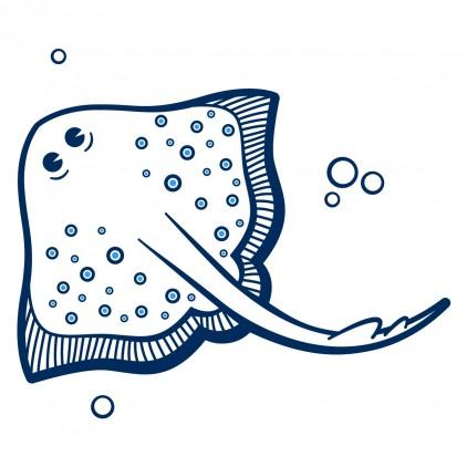 sticker enfant fonds marins grande raie