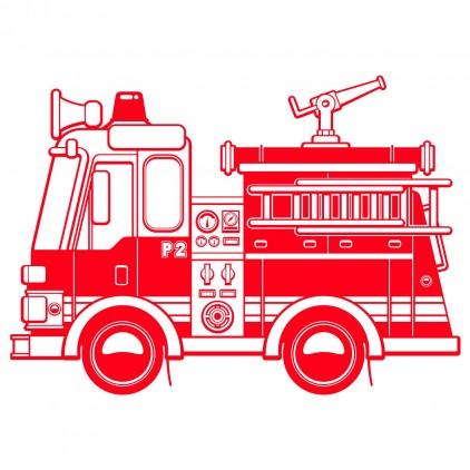 sticker enfant transport vehicule camion pompier xl
