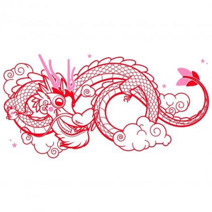 sticker enfant asie dragon porte-bonheur xl