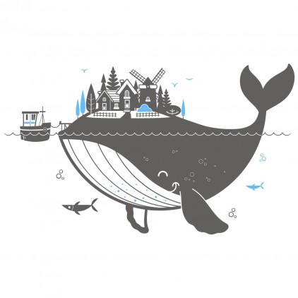 XL whale island ocean kids wall decal