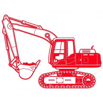 vinilo infantil construcción excavadora xl