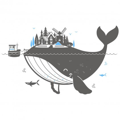 vinilo infantil oceano isla ballena XXL