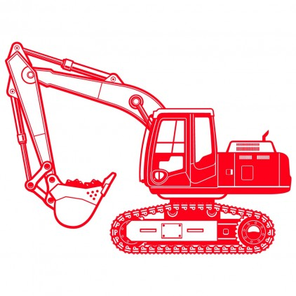 xxl excavator digger construction kids wall decal