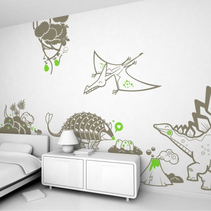 dinosaur theme kids wall decals pack