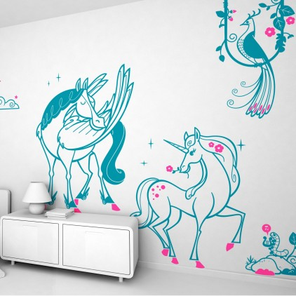 fairy world theme kids wall decals pack