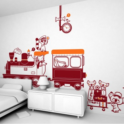 train station theme kids wall decals pack