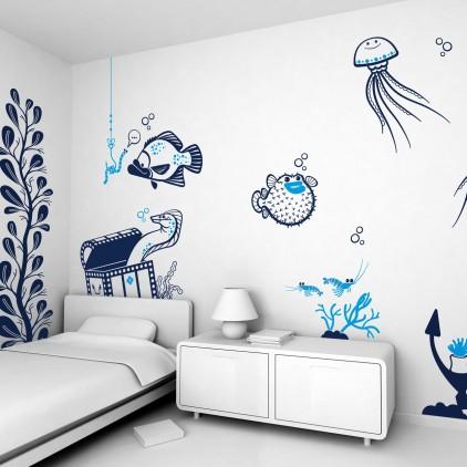 kids room decor underwater ocean theme bedroom kids wall decals kids wall stickers wallpaper. Black Bedroom Furniture Sets. Home Design Ideas