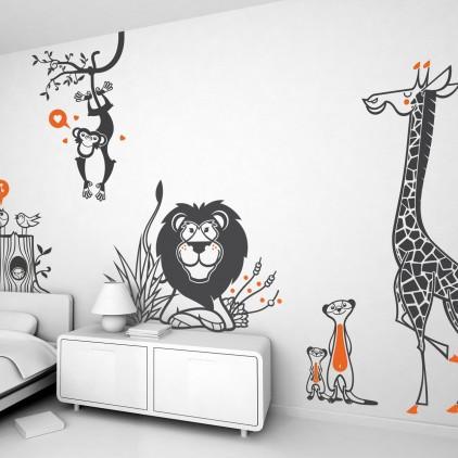 stickers enfants savane, safari, jungle, animaux