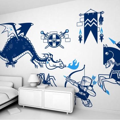 kit stickers enfant chevaliers et dragons