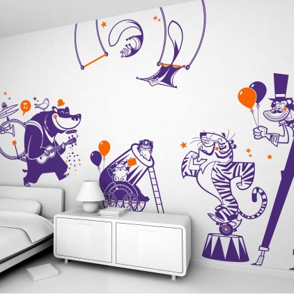 circus animals theme kids wall decals pack