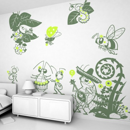 nature garden flowers theme kids wall decals pack