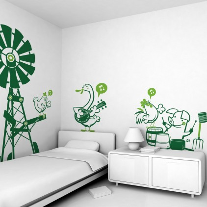 farm animals theme kids wall decals pack