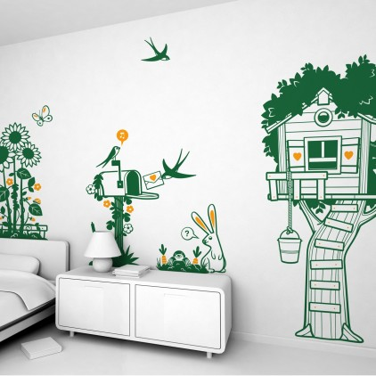 nature country animals theme kids wall decals pack