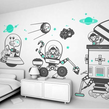 monkey outer space theme kids wall decals pack
