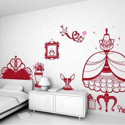 princess theme kids wall decals pack for girl room
