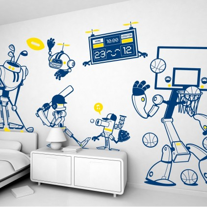 kit vinilos infantiles cama niño robots deportes