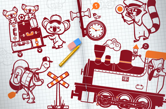Train station kids wall decals for baby nursery by E-Glue design studio