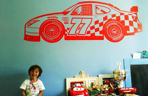 E-GLUE RACING CAR DECALS, kids room wall stickers