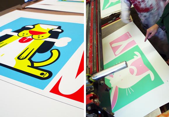 E-GLUE NEW SCREEN PRINTS // limited edition prints - bobbie the dog & greedy bunny