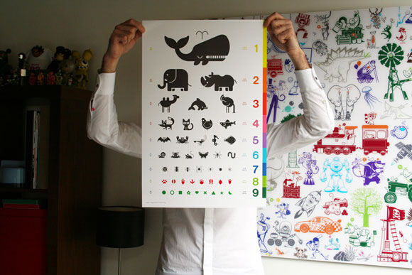 E-GLUE POSTER FOR KIDS ROOM (animal eye chart)