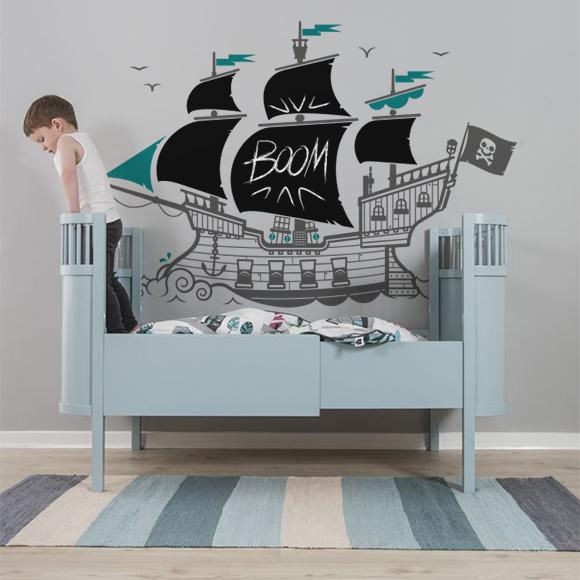 vinilos infantiles Barco Pirata con partes de vinilos pizarra negro