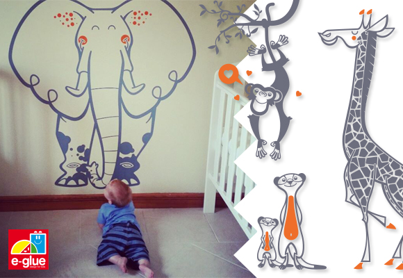 Vinilos para cuartos bebés y habitaciones infantiles tema safari, selva, jungla por E-Glue